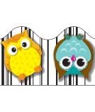 Colourful Owls Scalloped Borders