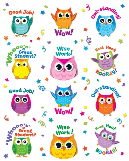 COLOURFUL OWLS MOT STICKERS