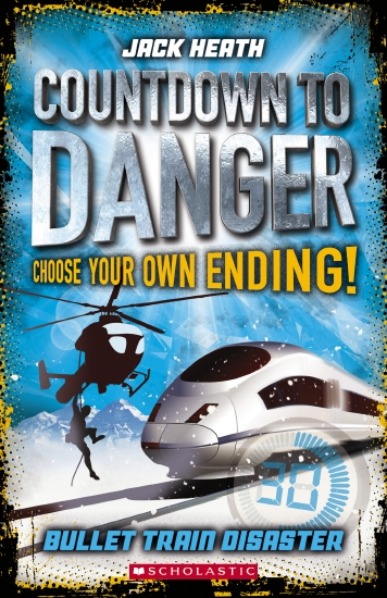Bullet Train Disaster: the cover has a bullet train and a helicopter with a person dangling below