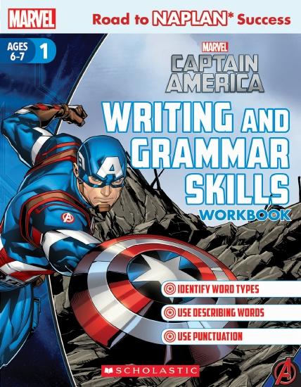 Marvel: Captain America Writing and Grammar Skills Workbook Level 1