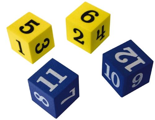 Foam Numbered Dice (Numerals 1-12) - Teacher Resource