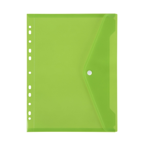 Marbig A4 Binder Pocket with Button Closure - Lime Green